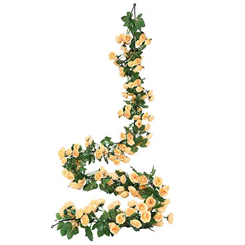 Miracliy Fake Rose Vine Flowers Plants Artificial Flower Hanging Rose Ivy Home Hotel Office Wedding Party Garden Craft Art Décor (Yellow-New) (Flowers For Artificial Garden)