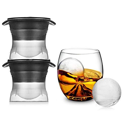 ALXDR Whisky Rounders Sphere Ice Mould -2 Packs Cubo De Hielo Grande Y Redondo con Tapa, Agregue Estilo A Los Postres...