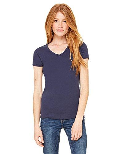 Bella Women's 1x1 Baby Rib V-Neck T-Shirt B1005, Large, Navy