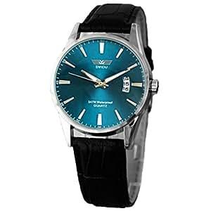 Xinantime Relojes Hombre,Xinan Clásico Negro Correa de Cuero Calendario de Pulsera de Cuarzo (Azul)