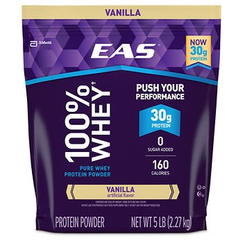 EAS 100% Vanilla Whey Protein Powder, 5 lbs. x2 AS by American Standart