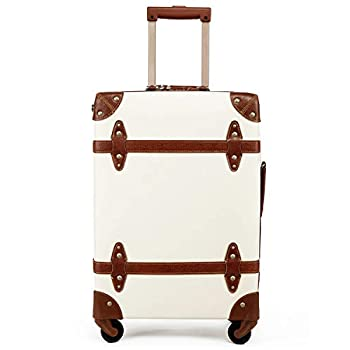 Image of Luggage Vintage Luggage Carryon Suitcase Travel - HoJax Classic Trolley Luggage with Spinner Wheels, TSA Lock, Lightweight, 20 inch, Beige