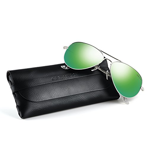 GREY JACK Polarized Classic Aviator Sunglasses Lightweight Style for Men Women Silver Frame Green Lens Large ()