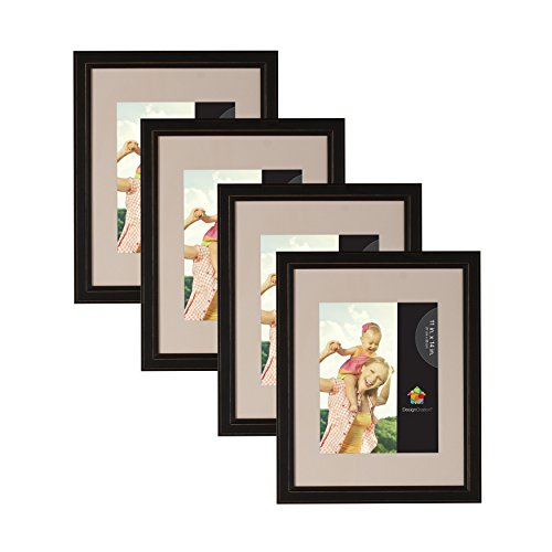 DesignOvation Kieva Solid Wood 11x14 matted to 8x10 Picture Frames, Distressed Black, Pack of 4