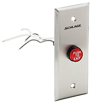 "Schlage Electronics 701RD EX NS Pushbutton, 5/8"" Red Mushroom Button, Engraved PUSH TO EXIT, Narrow Stile, 24VDC"