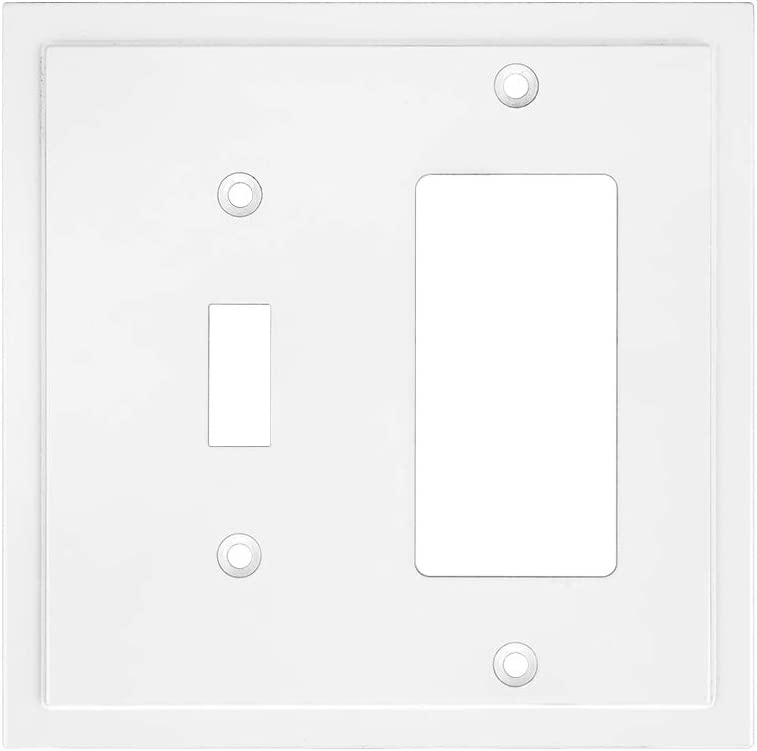 Modern Edge Decorative Wall Plate Switch Plate Outlet Cover, Durable Solid Zinc Alloy (Single Toggle/Decorator, White)