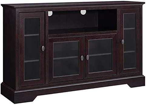 Pemberly Row 52 Highboy Style Wood TV Stand Console Entertainment Credenza Buffet Sideboard Cabinet with Glass Storage in Espresso