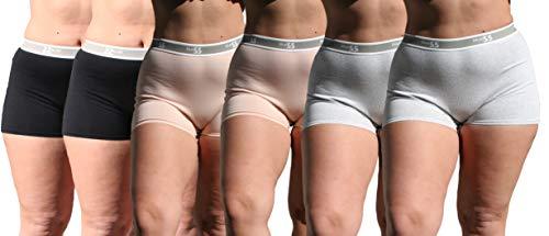 Blue 55 Women's Plus Size Cotton Boy Shorts Panties Underwear (6PK: 2 Black 2 Beige & 2 H.Grey, 1X/2X)