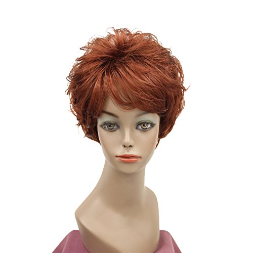 Lydell Women's Wigs Fluffy Naturally Curly Short Synthetic Hair Full Wig #130 Red (Red 130 Wig)