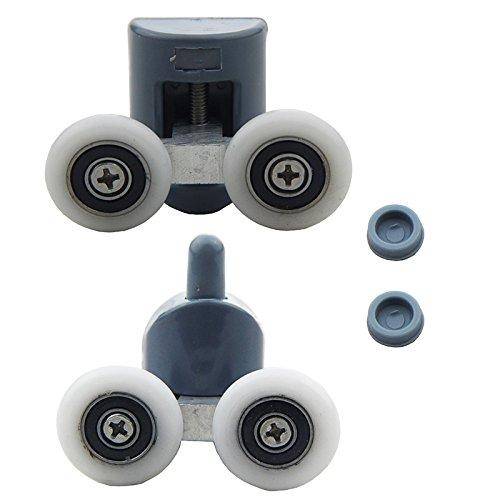 low-cost 8Pcs Double Shower Door Rollers/Runners/Wheels TOP or BOTTOM 23mm Wheel Dia