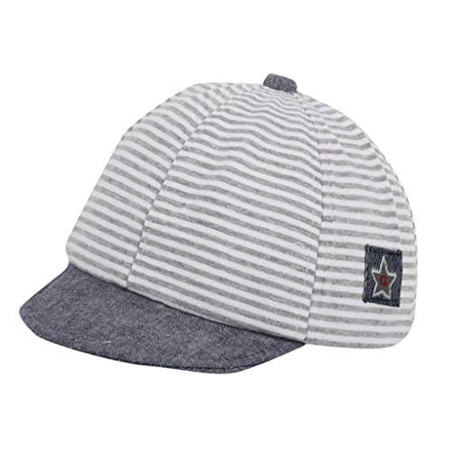 (Cuekondy 2019 Newest Summer Newborn Toddler Baby Girl Boy Baseball Cap Sun Hat Cute Striped Casual Sun Protection Hat (Gray,0-1 Years old))