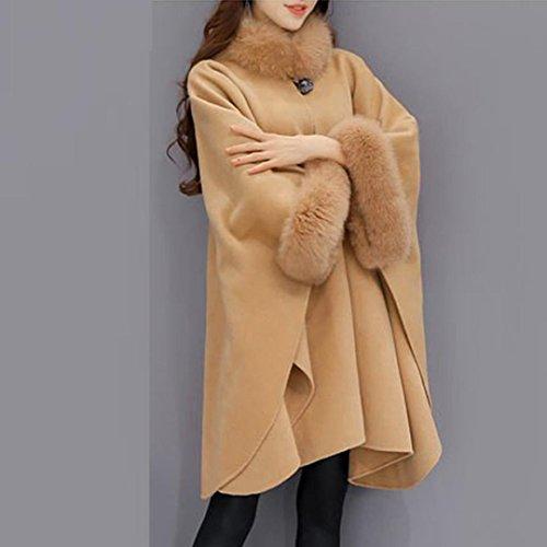 Abrigo Parka Marrón De Coat De De Mujer Piel Casual Chaqueta De QinMM Capa Lana De Cuello De SfCqxx0F