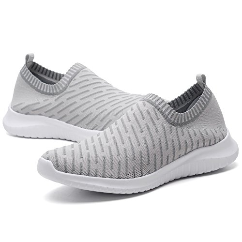 Athletic Grey Slip Shoes Mesh 2108 Sneakers Breathable Men's LANCROP Lightweight Walking Running On qw8x617