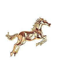 Alilang Golden Tone Plated Galloping Horse Jockey Equestrian Animal Fashion Pin Brooch