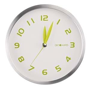 DecoMates Non-Ticking Silent Wall Clock, Early Spring, Green Tea