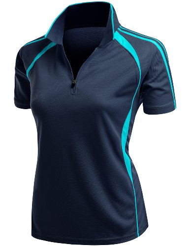 Xpril Coolmax 2 Tone Collar Zipup Polo T-Shirt Navy Size L - Collar Polo T-shirt