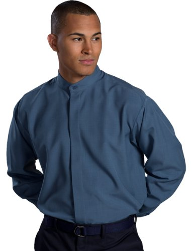 Ed Garment Men's Big And Tall Banded Collar Shirt, RIVIERA BLUE, X-Large Tall