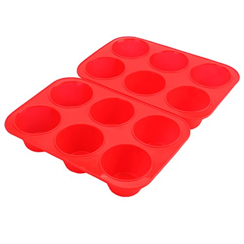 Tosnail 6 Cups Silicone Muffin & Cupcake Pans, Dishwasher - Microwave Safe - Set of 2