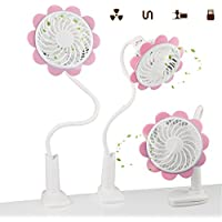 A-SZCXTOP Sunflower Mini Clip Fan Mobile Rechargeable Stepless Speed Regulation Clip Fan for Students and Adults in Summer 4 Colors Availabl (Pink)