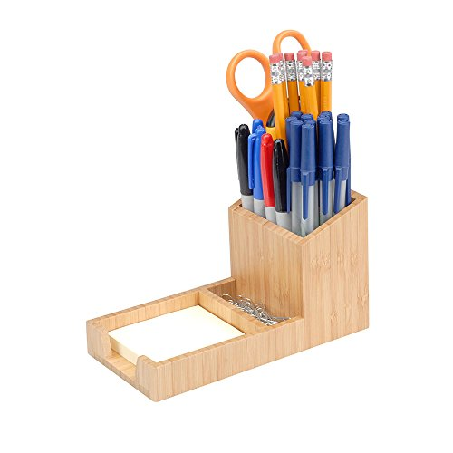 MobileVision Bamboo Pencil Holder with Tray for Storing and organizing Small Stationary Items Such as paperclips, Business Cards, and notepads