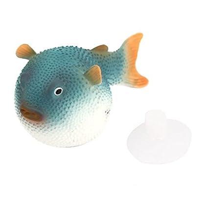 eDealMax peces de acuario tanque de succión Copa Artificial flotante Puffer decoración Azul