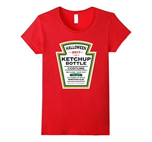 Womens Halloween Red Ketchup Label Bottle Costume t-shirt Large (Ketchup Bottle Halloween Costume)