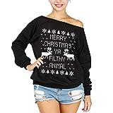 csbks merry christmas off shoulder sweatshirt ugly christmas reindeer women long sleeve pullover