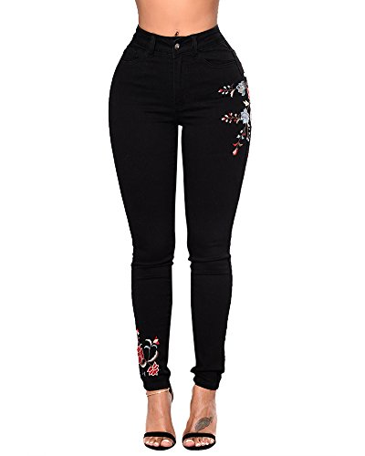 Mujer Pantalón Boyfriend Pantalones Vaqueros Skinny Bordado De Flores Denim Jeans Negro