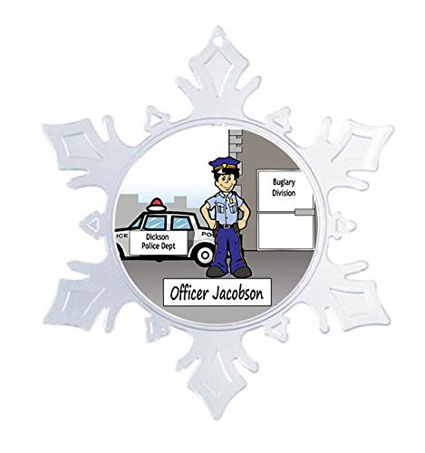 Printed Perfection Personalized Police Male Snow Flake Christmas Ornament Friendly Folks, Gift, Police Officer, Peace Officer, Constable