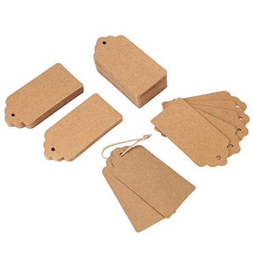 NszzJixo9 100PCS Kraft Paper Wedding Rectangle Craft Hang Tags 393 Feet Natural Jute Twine Great for Wedding Favour Party Gift Tag Birthday Gift Tags