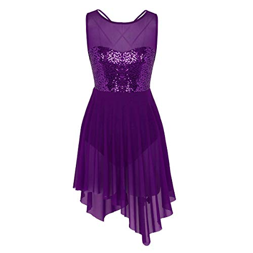 Yeahdor Lyrical Modern Contemporary Dance Costumes Dresses Women's Sequins Mesh Illusion Sweetheart Ballet Latin Dress Dark Purple Small