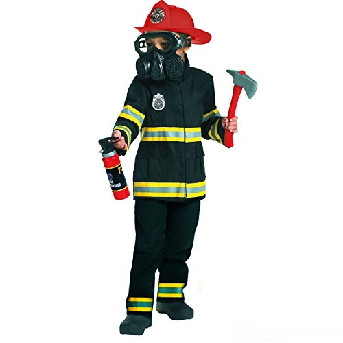 Kids Fire Fighter Costume Emergency Services Boys Fireman Uniform Childs Outfit - Medium (Age 6-8) -