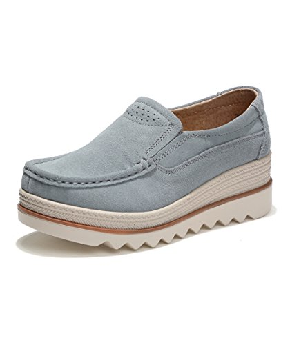 Rainrop Women Platform Slip On Loafers Shoes Comfort Suede Moccasins Fashion Casual Wedge Sneakers Gray 42 - Suede Loafers Shoes