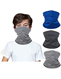 [3 Pack] Kids Sun UV Protection Face Bandanas Neck Gaiter, Reusable Breathable Mask Scarf Balaclava for 3-12 Years Boys Girls