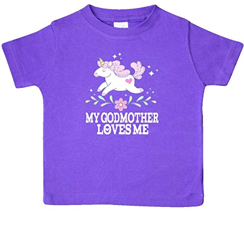 (inktastic - My Godmother Loves Me Unicorn Baby T-Shirt 6 Months Purple 33492)