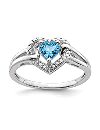 925 Sterling Silver Swiss Blue Topaz Diamond Band Ring S/love Gemstone Fine Jewelry For Women Gift Set