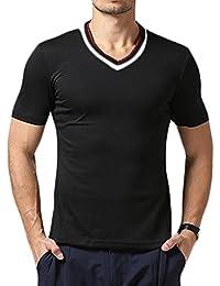 XTX Mens Fashion Short Sleeve V-neck Basic Slim Fit T-short Tops