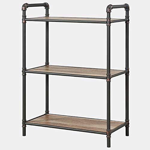 BUkk Metal and Wood Bookcase - 3 Tier Bookcase - Antique Black/Light Oak