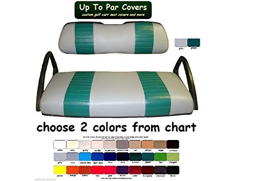Club Car DS 2000+ Custom 2-Stripe Golf Cart Seat Cover Set Made with Marine Grade Vinyl - Staple On - Choose Your Colors From Our Color Chart!