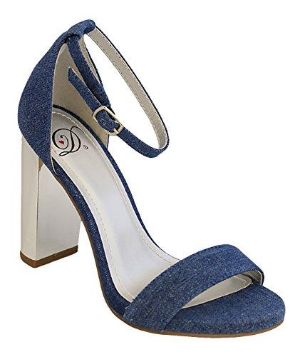 Città Classificata Da Donna Fascia Singola Fibbia Cinturino Alla Caviglia Sandalo Con Tacco A Blocco Sandali In Velluto Blu