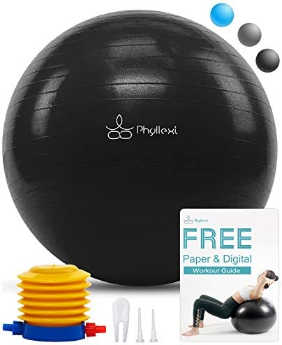 PHYLLEXI Exercise Ball 55-85cm Extra Thick Yoga Ball Chair-Pro Grade Anti-Burst Heavy Duty Stability Ball Supports 2200lb