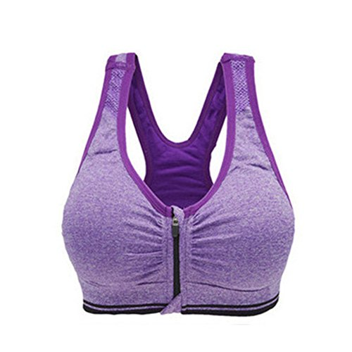 LAAT 1PC Women's Sports Bra Shockproof Vest High Impact Yoga Back Support Push Underwire Sports Bra (M, Purple)