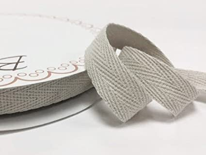 Bertie's Bows 15mm Light Natural Cotton Herringbone Tape/Webbing on a 4m Length (N.B. this is a cut from a roll, presented on a Bertie's Bows card)