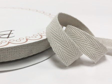 Bertie's Bows 15mm Light Natural Cotton Herringbone Tape/Webbing on a 4m Length (N.B. this is a cut from a roll, presented on a Bertie's Bows card) Bertie's Bows