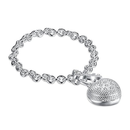 BODYA Silver Tone Puff Pave Heart Charm Bracelet with Crystal Key Toggle Clasp for Women Teens Girls Gift (Toggle Puff Heart)