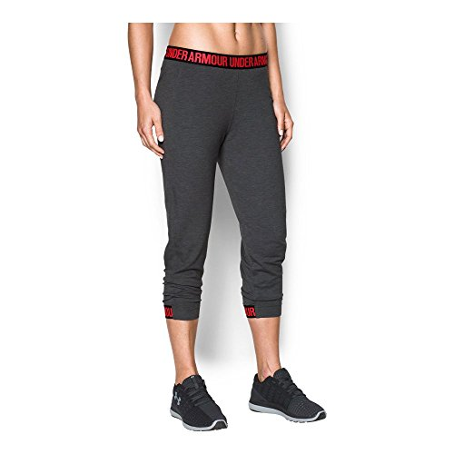 Under Armour Women's Featherweight Fleece Crop, Carbon Heather/Marathon Red, Medium