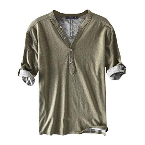 ASOBIMONO Men's V Neck Cotton T-Shirt Button Down Half Sleeve Henley Shirts Basic Casual Tees Solid Breathable Tops Army Green ()