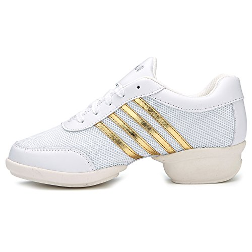 Performance T11 Shoes and sneakers Gold Women's Model Modern Men Sneaker Roymall Ballroom Boost Dance Dance Sports Jazz White R1WznqwZ