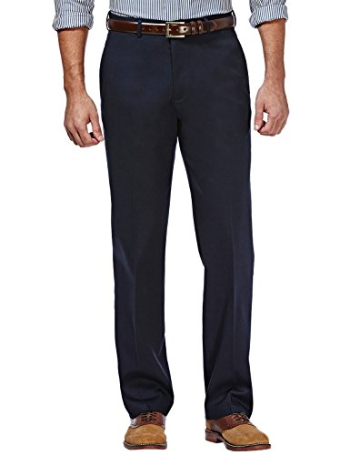Haggar Clothing Men's Sustainable Stretch Chino Flat Front Straight Fit Pants (32X30, Navy)