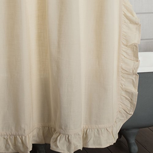 Ashley Natural Ruffled Shower Curtain 72x72 Farmhouse Style Bathroom Dcor High Quality